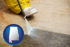 alabama pressure washing a concrete surface