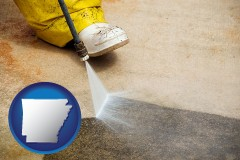arkansas pressure washing a concrete surface