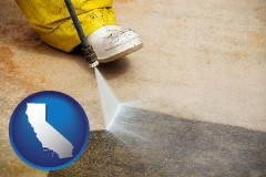 california pressure washing a concrete surface
