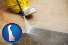 delaware pressure washing a concrete surface