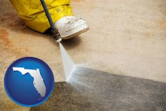 florida pressure washing a concrete surface