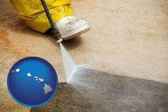 hawaii pressure washing a concrete surface
