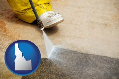 idaho pressure washing a concrete surface