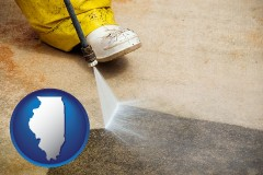illinois pressure washing a concrete surface