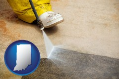 indiana pressure washing a concrete surface
