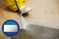 kansas pressure washing a concrete surface