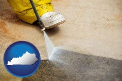 kentucky pressure washing a concrete surface