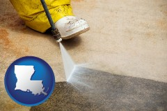 louisiana pressure washing a concrete surface