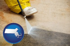 massachusetts pressure washing a concrete surface