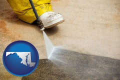 maryland pressure washing a concrete surface