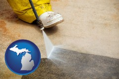 michigan pressure washing a concrete surface
