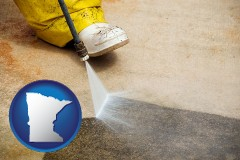 minnesota pressure washing a concrete surface