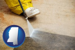 mississippi pressure washing a concrete surface