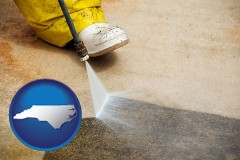 north-carolina pressure washing a concrete surface