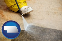 nebraska pressure washing a concrete surface