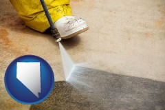 nevada pressure washing a concrete surface