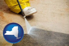 new-york pressure washing a concrete surface