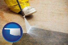 oklahoma pressure washing a concrete surface