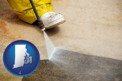 rhode-island pressure washing a concrete surface