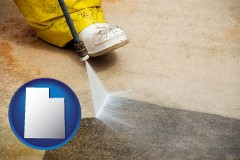 utah pressure washing a concrete surface
