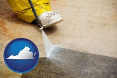 virginia pressure washing a concrete surface