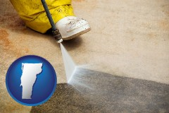 vermont pressure washing a concrete surface