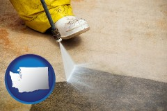 washington pressure washing a concrete surface
