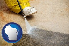 wisconsin pressure washing a concrete surface