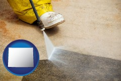 wyoming pressure washing a concrete surface