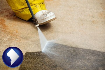 pressure washing a concrete surface - with Washington, DC icon