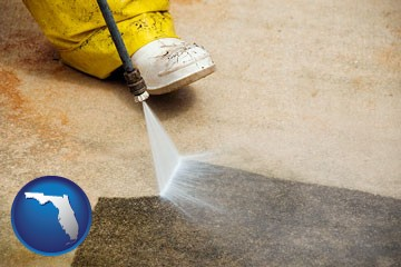 pressure washing a concrete surface - with Florida icon