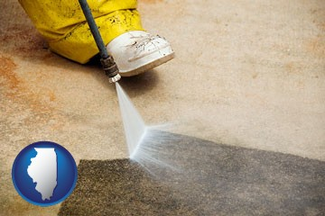 pressure washing a concrete surface - with Illinois icon