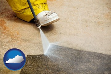 pressure washing a concrete surface - with Kentucky icon
