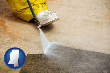 pressure washing a concrete surface - with Mississippi icon