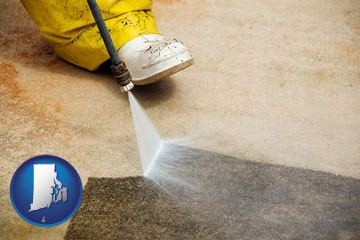 pressure washing a concrete surface - with Rhode Island icon