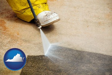 pressure washing a concrete surface - with Virginia icon