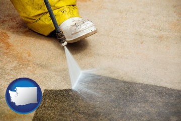 pressure washing a concrete surface - with Washington icon
