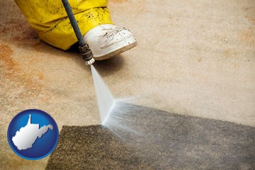 pressure washing a concrete surface - with West Virginia icon